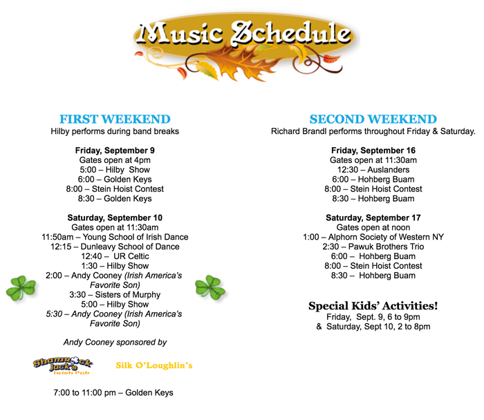 Photo: Music Schedule